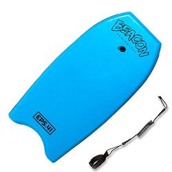 Play Platoon 41″ Blue Bodyboard with Wrist Leash for Adults – Body Surfing Boards
