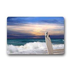best bags Surfboard On The Sea Beach Doormat Outdoors/Indoor Machine Washable Home Floor Mats Ru ...