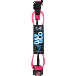 Sticky Bumps Day Glo Reg Pink Surfboard Leash – 7′