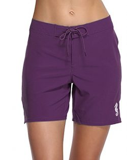 Sociala Women's Solid Board Shorts Workout Shorts Swim Bottom Trunks Boardshorts L