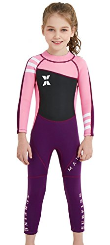Boys Girls Long Sleeve Wetsuit Thermal Long Sleeve Swimsuit UPF 50+ Sun Protection Sun Suit Pink M