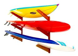 Timber Surfboard Wall Rack – Holds 3 Surfboards – Cherry Wood Home & Garage Stor ...