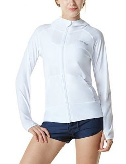 Tesla TM-FSZ02-WHT_Medium Women's UPF 50+ Hoodie Zip Front Long Sleeve Top Rashguard Swims ...