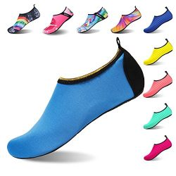 Womens and Mens Water Shoes Barefoot Quick-Dry Aqua Socks for Beach Swim Surf Yoga Exercise (Gol ...