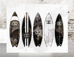 Wall Art Poster Print – Surfboards COCO CHANEL, Shoes, Book, Handbag Vogue – Famous  ...