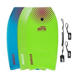 BPS 33″ Green with Purple Dots Bodyboard with Leash and Fin Tethers (2018)