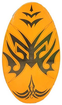 Rubber Top Wooden Skimboard With Slip Free Grip (No Wax Needed!) (Orange, 30 Inch)
