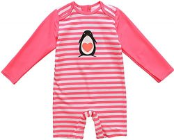 Kids All-in-One Sun Protection Wetsuit Baby Girl Rash Guard Long Sleeve Swimwear,Pink(Fulfilled  ...