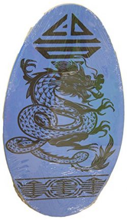 Rubber Top Wooden Skimboard With Slip Free Grip (No Wax Needed!) (Blue w/ Dragon, 36 Inch)