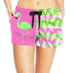 AS-WALL Womens Quick Dry Green Flamingo Beach Shorts Surf Board Bathing Suits Holiday Swim Trunk ...