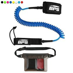 BPS 10′ Coiled SUP Leash with Rail Saver with Rail Saver w/Waterproof Waist Carry Bag R ...