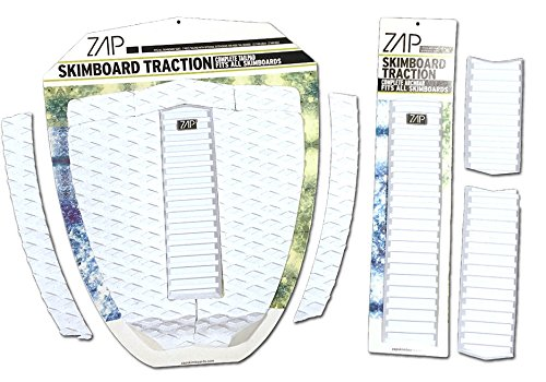 Zap Skimboard Deluxe Traction Pad Set / Skim Board Grip Combo / Tail Pad & Arch Bar (White)