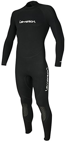 Lemorecn Mens Wetsuits Jumpsuit Neoprene 3/2mm Full Body Diving Suit (3031blackS)