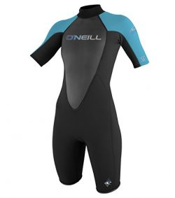 O'Neill Wetsuits Women's Reactor 2mm Short Sleeve Back Zip Spring Wetsuit, Black/Tur ...