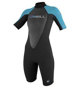 O'Neill Wetsuits Women's Reactor 2mm Short Sleeve Back Zip Spring Wetsuit, Black/Tur ...