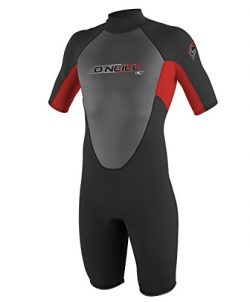 O'Neill Youth Reactor 2mm Back Zip Spring Wetsuit, Black/Red/Black, 12