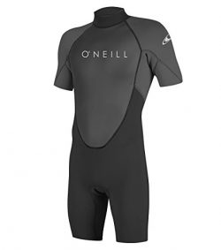 O'Neill Men's Reactor-2 2mm Back Zip Short Sleeve Spring Wetsuit, Black/Graphite, Large