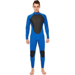 Realon Wetsuit Men Full 3mm Surfing Suit Diving Snorkeling Swimming Suit Jumpsuit (blue, Medium)