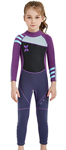 Kids Wetsuit Long Sleeve One Piece Swimsuit UPF 50+ Sun Protection Warm Stretchy Swimwear Sunsui ...