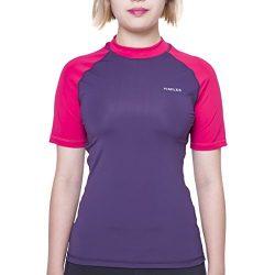 H.MILES Women's Short Sleeve Rashguard UPF 50+ Swim Shirt Surfing Top Snorkeling Swimming T-shirt