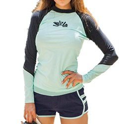 Women's Rash Guard Sets Long Sleeves Raglan Two Pieces Swimsuits Crew Neck with Bra Pads S ...