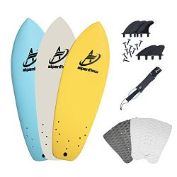 "A ALPENFLOW 5'7"" Surfboard Soft Top Foamie Surf Boards with Blue Yellow White Option ..."