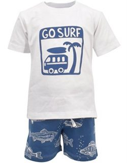Unique Baby Boys Go Surf 2 Piece Summer Outfit (2T)