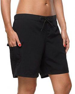 Maysoul Women Pocket Swim Shorts Surf Board Shorts Long Tankini Shorts Black Large