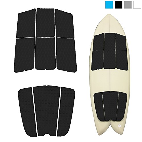 ABAHUB 9 Piece Surf Deck Traction Pad Premium EVA with Tail Kicker 3M Adhesive for Surfboard Black