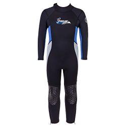 Seavenger 3mm Kids Full Body Wetsuit with Knee Pads for Surfing, Snorkeling, Swimming (Ocean Blu ...