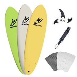 A ALPENFLOW 7′ Surfboard Soft Top Foamie Surf Boards Green Yellow White Options 7ft Surfin ...