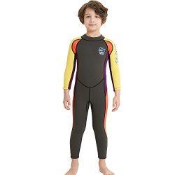 Dark Lightning Kids Wetsuit Full Thermal Suit, Boys Neoprene One Piece Fishing Suits, 2mm Long S ...