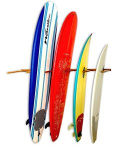 Vertical Timber Surfboard Wall Rack – Holds 6 Surfboards – Cherry Wood Home & Ga ...