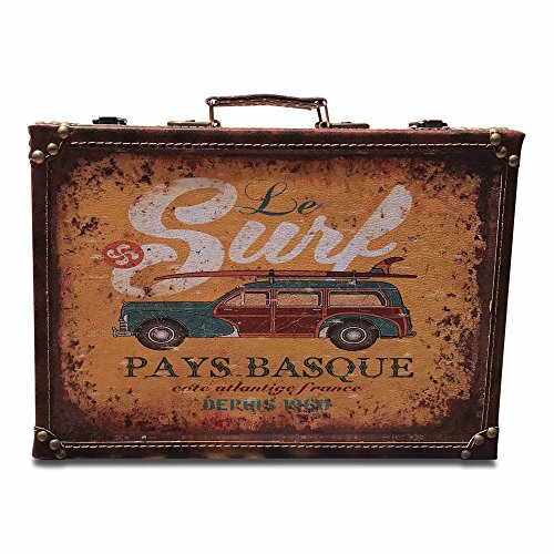 The World Traveler Suitcase Storage Organizer Box, Surf Board And Vintage Car Graphic, Yellow, F ...