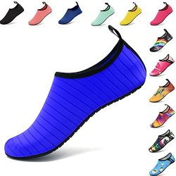 VIFUUR Water Sports Shoes Barefoot Quick-Dry Aqua Yoga Socks Slip-on for Men Women Kids Blue-42/43