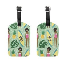 Set of 2 Luggage Tags African Girl Surfboard Pineapple Suitcase Labels