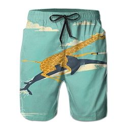 ZQZM Giraffe Shark Fly Men's Summer Surf Board Shorts 3D Printed Qucik Dry Pockets Cool Gr ...