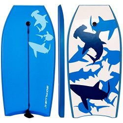 Goplus 41 inch Super Bodyboard Body Board EPS Core, IXPE Deck, HDPE Slick Bottom with Leash, Lig ...