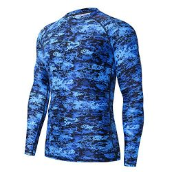 HUGE SPORTS Men's UV Sun Protection UPF 50+ Full Digital Print Rash Guard Long Sleeves