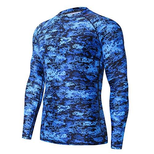 HUGE SPORTS Men's UV Sun Protection UPF 50+ Full Digital Print Rash Guard Long Sleeves