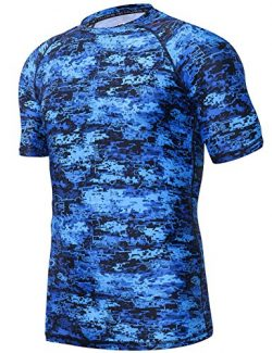HUGE SPORTS Men's UV Sun Protection UPF 50+ Full Digital Print Rash Guard Short Sleeves