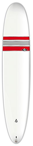 BIC Sport Ace-Tec Nose Rider Surfboard with 3 Fins, White/Red, 9'4