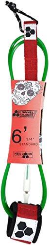 Channel Islands Surfboards Bobby Martinez Standard Surfboard Leash, Red/White/Green, 6′
