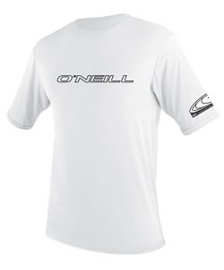O'Neill UV 50+ Sun Protection Mens Basic Skins Short Sleeve Tee Sun Shirt Rash Guard, Whit ...