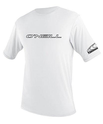 O'Neill UV 50+ Sun Protection Mens Basic Skins Short Sleeve Tee Sun Shirt Rash Guard, Whit ...