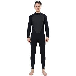 Realon Wetsuit Men 3mm CR Diving Surfing Suit Snorkeling Suits Full Body Jumpsuit (black, X-Large)