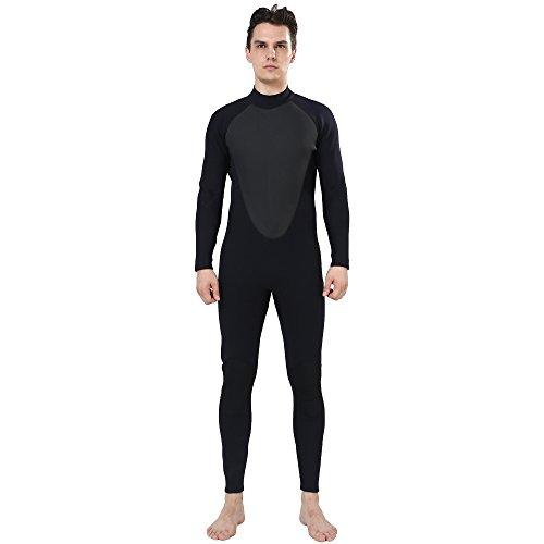 Realon Wetsuit Men 3mm CR Diving Surfing Suit Snorkeling Suits Full Body Jumpsuit (black, X-Large)