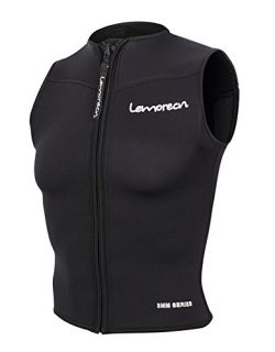 Lemorecn Men Wetsuits Top Premium Neoprene 3mm Zipper Diving Vest (2095,L)