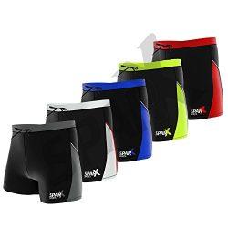 Sparx Sports Men Swimming Shorts Surf Board Trunks Boxer Shorts Beach Pants (Large, Black/Red)