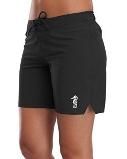 Sociala Womens Board Shorts Swim Trunks Beach Boardshorts Swimwear M Black